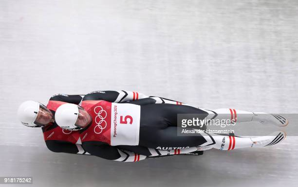 Peter Penz and Georg Fischler of Austria make a run during the Luge Doubles on day five of the PyeongChang 2018 Winter Olympics at the Olympic...