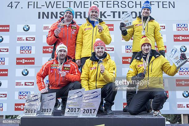 Peter Penz and Georg Fischler of Austria Tobias Wendl and Tobias Arlt of Germany and Toni Eggert and Sascha Benecken of Germany pose for a picture...