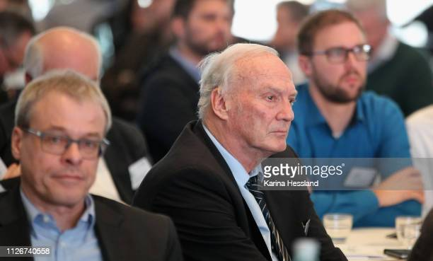 Peter Peters and Dr.Hans-Georg Moldenhauer during day 1 of the DFB Amateur Football Congress at Hotel La Strada on February 22, 2019 in Kassel,...