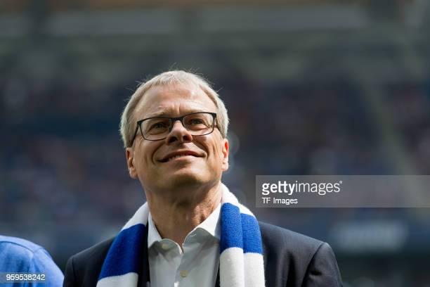 May 12: Peter Peters of Schalke laughs prior to the Bundesliga match between FC Schalke 04 and Eintracht Frankfurt at Veltins Arena on May 12, 2018...