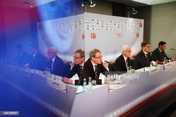Peter Peters, Reinhard Rauball, Christian Pfennig and Christian Seifert of the German Footbal League DFL, attend a press conference following a DFL...