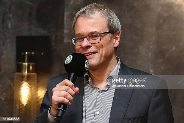Peter Peters, Vice-President of the DFB speaks during the DFB EURO 2016 Club reception at La Gare Restaurant on June 21, 2016 in Paris, France.