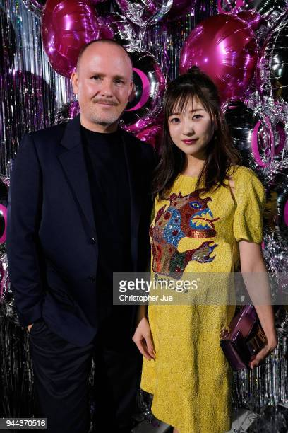 Peter Philips and Chiaki Ito attend the Dior Addict Lacquer Plump Party at 1 OAK on April 10 2018 in Tokyo Japan