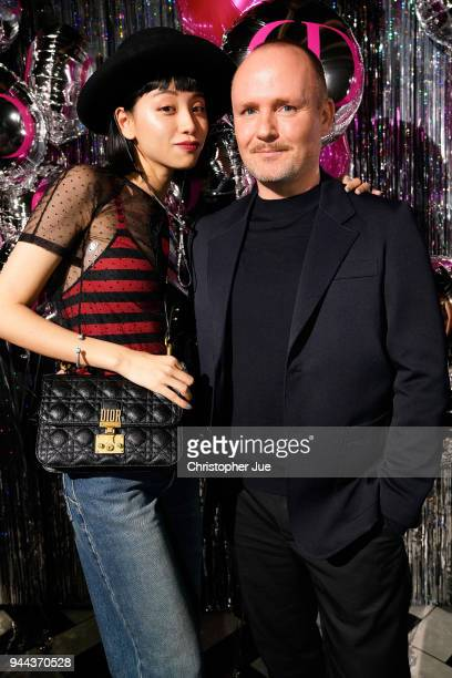Peter Philips and Ruka attend the Dior Addict Lacquer Plump Party at 1 OAK on April 10 2018 in Tokyo Japan