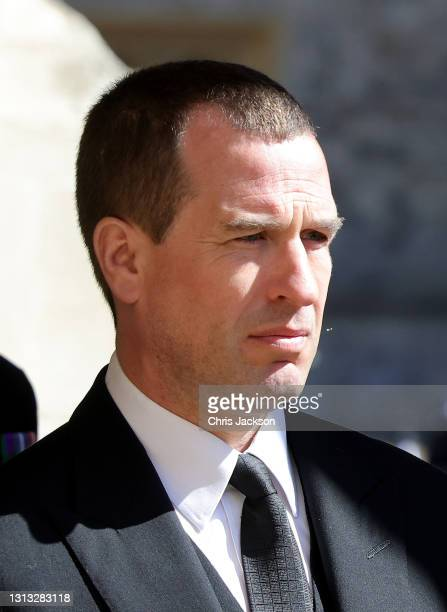 Peter Philips walks in the procession at the funeral of Prince Philip, Duke of Edinburgh at Windsor Castle on April 17, 2021 in Windsor, England....