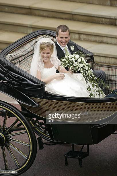 Peter Phillips 30 and Autumn Kelly 31 leave St George's Chapel in Windsor on May 17 2008 after their marriage vows The bride recently converted from...