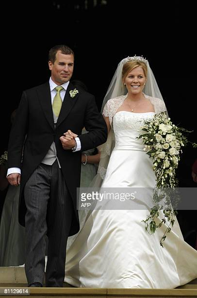 Peter Phillips 30, and Autumn Kelly 31, leave St George's Chapel in Windsor on May 17, 2008 after their marriage vows. The bride recently converted...
