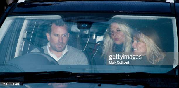 Peter Phillips and Autumn Phillips attend a Christmas lunch for the extended Royal Family at Buckingham Palace on December 20 2017 in London England
