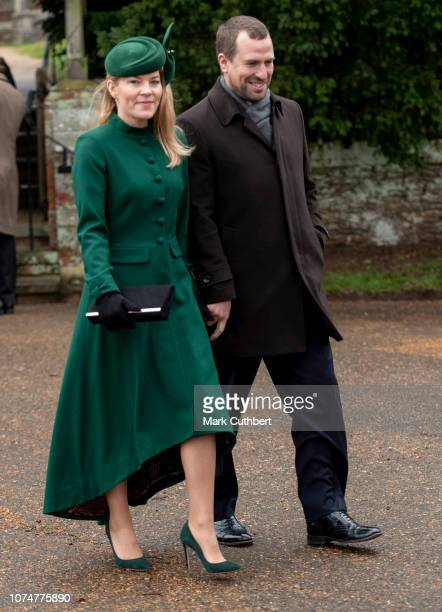 Peter Phillips and Autumn Phillips attend Christmas Day Church service at Church of St Mary Magdalene on the Sandringham estate on December 25 2018...