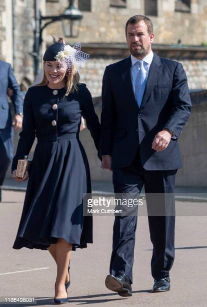 Peter Phillips and Autumn Phillips attend Easter Sunday service at St George's Chapel on April 21 2019 in Windsor England