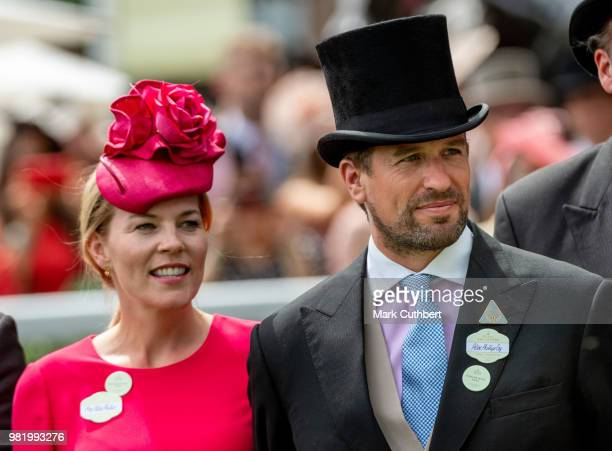 Queen Elizabeth II Autumn Phillips Peter Phillips and John Warren attend day 5 of Royal Ascot at Ascot Racecourse on June 23 2018 in Ascot England