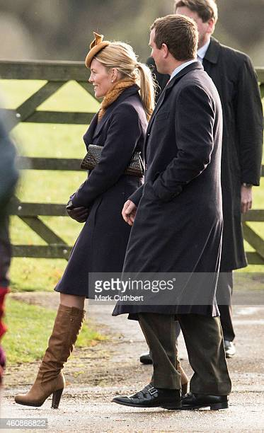 Peter Phillips and Autumn Phillips attend Sunday church service at Sandringham on December 28 2014 in King's Lynn England