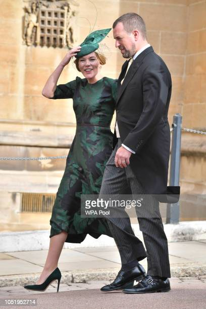 Peter Phillips and Autumn Phillips attend the wedding of Princess Eugenie of York to Jack Brooksbank at St George's Chapel on October 12 2018 in...
