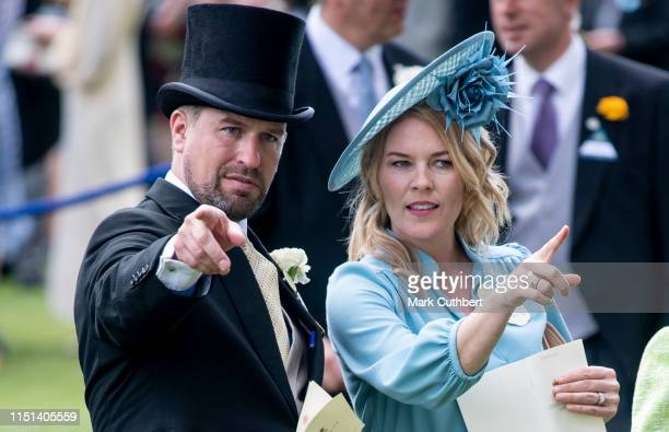 Peter Phillips and Autumn Phillips on day five of Royal Ascot at Ascot Racecourse on June 22, 2019 in Ascot, England.