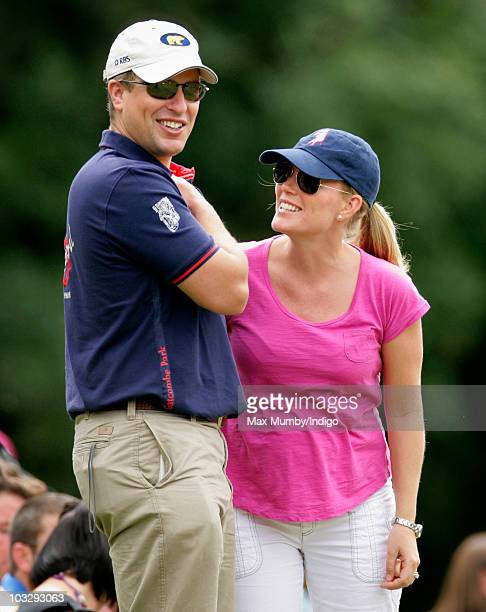 Peter Phillips and Autumn Phillips watch the cross country phase of the Festival of British Eventing at Gatcombe Park on August 8 2010 in Stroud...