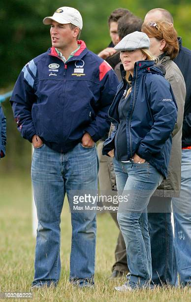 Peter Phillips and Autumn Phillips watch Zara Phillips compete in the dressage phase of the Festival of British Eventing at Gatcombe Park on August 6...