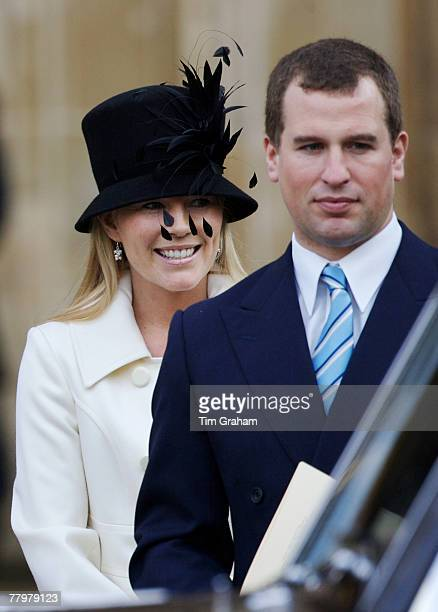 Peter Phillips and his fiance Autumn Kelly attend a service of thanksgiving at Westminster Abbey to celebrate the Queen and Prince Philip's Diamond...