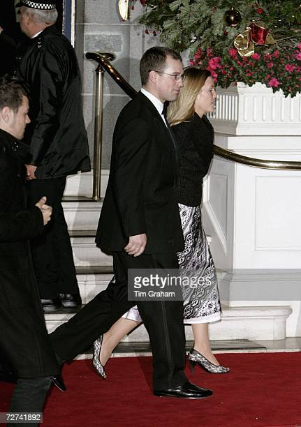 Peter Phillips and his girlfriend Autumn Kelly attend a private party to celebrate the 80th birthday of Queen Elizabeth II at the Ritz Hotel on...