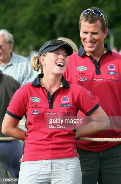 Peter Phillips and his girlfriend Autumn Kelly in buoyant mood on the second day of the Gatcombe Horse Trials at the Gatcombe Estate on August 5 2006...