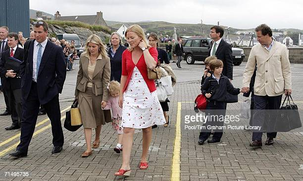 Peter Phillips and his girlfriend Autumn Kelly join Viscount David Linley and Charles ArmstrongJones to embark on the Hebridean Princess at Port...