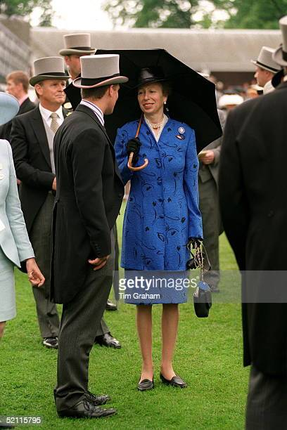 Peter Phillips And His Mother Princess Anne Talking In The Paddock At Ladies Day At Ascot.