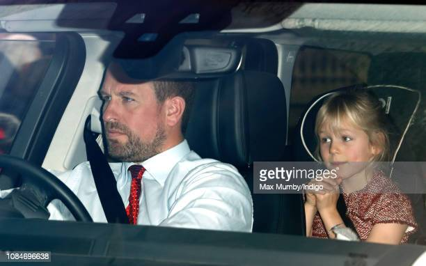 Peter Phillips and Isla Phillips attend a Christmas lunch for members of the Royal Family hosted by Queen Elizabeth II at Buckingham Palace on...