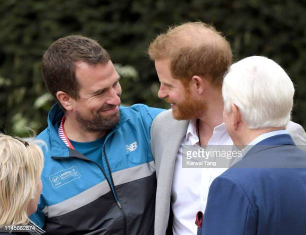 Peter Phillips and Prince Harry, Duke of Sussex attend the Virgin London Marathon 2019 on April 28, 2019 in London, United Kingdom.