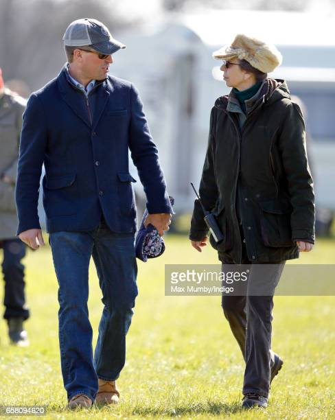 Peter Phillips and Princess Anne The Princess Royal attend the Gatcombe Horse Trials at Gatcombe Park on March 26 2017 in Stroud England