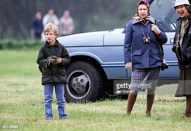 Peter Phillips And The Queen Watching The Royal Windsor Horse Show