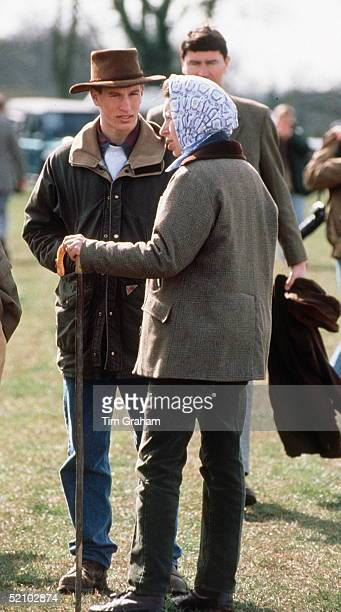 Peter Phillips At The Gatcombe Park Horse Trials Casually Dressed In Jeans And Country Style Wet Weather Jacket He Is Talking To His Mother Princess...
