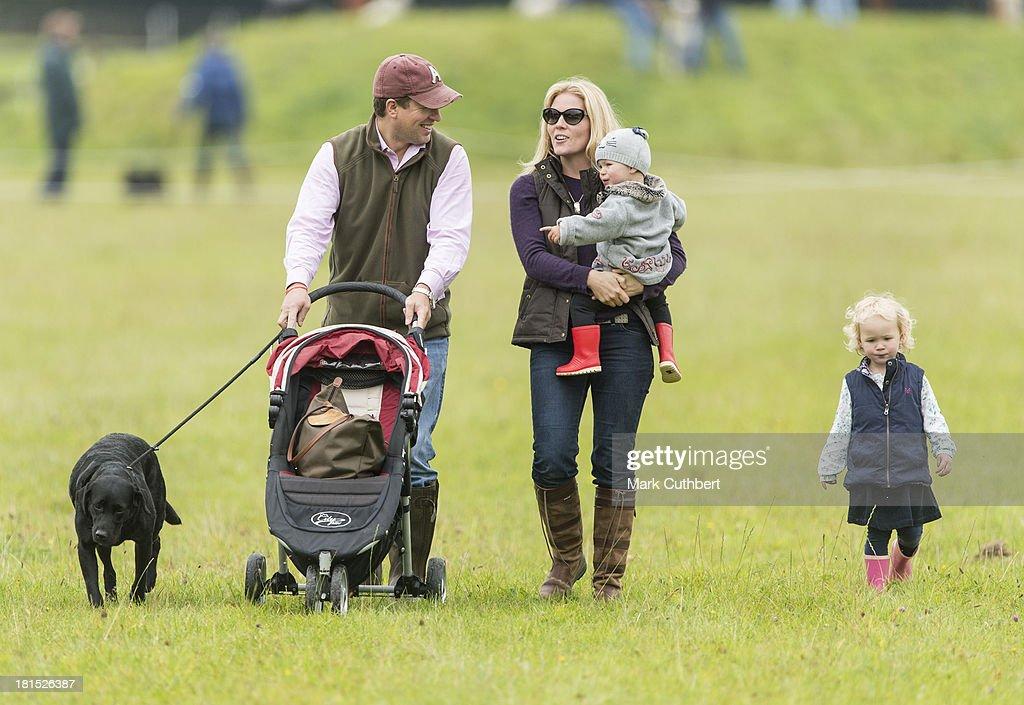 Peter Phillips, Autumn Phillips, Isla Phillips and Savannah Phillips attend the Gatcombe Horse Trials at Gatcombe Park, Minchinhampton, England.