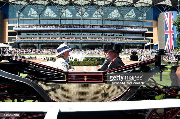 Peter Phillips Autumn Phillips Jane Fellowes Baroness Fellowes and Robert Fellowes Baron Fellowes on day 1 of Royal Ascot at Ascot Racecourse on June...