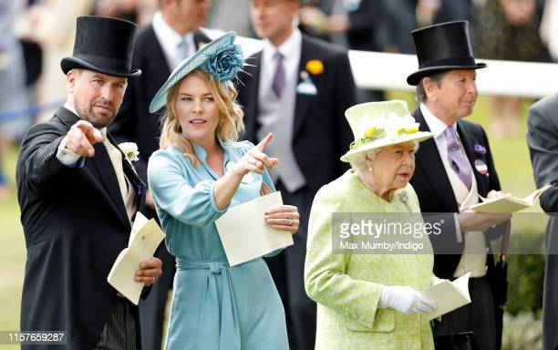 Peter Phillips, Autumn Phillips, Queen Elizabeth II and John Warren attend day five of Royal Ascot at Ascot Racecourse on June 22, 2019 in Ascot,...