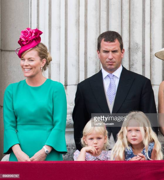Peter Phillips Autumn Phillips Savannah Phillips and Isla Phillips during the annual Trooping The Colour parade on June 17 2017 in London England