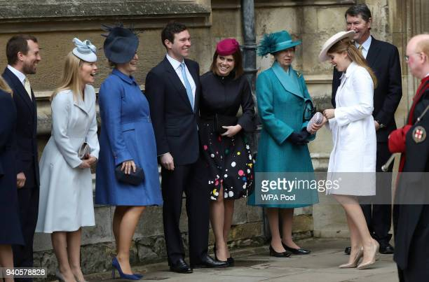 Peter Phillips Autumn Phillips Zara Tindall Jack Brooksbank Princess Eugenie Princess Anne Princess Royal Princess Beatrice and Vice Admiral Sir...