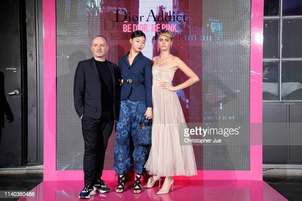 Peter Phillips Bae Yoon Young and Cara Delevingne attend Dior Addict Stellar Shine launch at Layers 57 on April 04 2019 in Seoul South Korea
