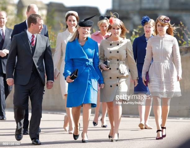 Peter Phillips, Catherine, Duchess of Cambridge, Autumn Phillips, Sophie, Countess of Wessex, Princess Eugenie Lady Louise Windsor and Princess...