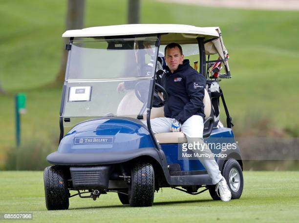 Peter Phillips drives a golf buggy as he takes part in the 5th edition of the 'ISPS Handa Mike Tindall Celebrity Golf Classic' at The Belfry on May...