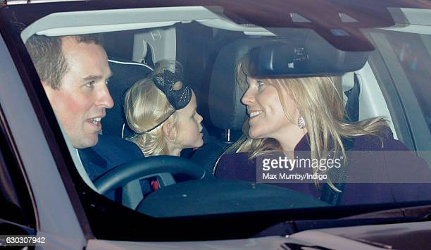 Peter Phillips Isla Phillips and Autumn Phillips attend a Christmas lunch for members of the Royal Family hosted by Queen Elizabeth II at Buckingham...