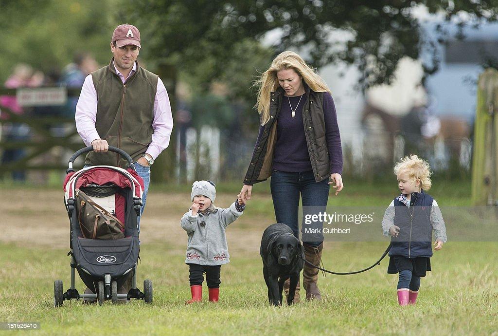 Peter Phillips, Isla Phillips, Autumn Phillips and Savannah Phillips attend the Gatcombe Horse Trials at Gatcombe Park, Minchinhampton, England.
