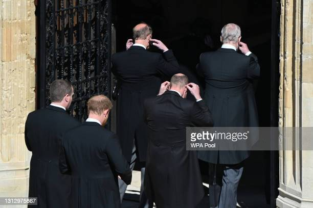 Peter Phillips, Prince Harry, Duke of Sussex, Prince Edward, Earl of Wessex, Prince William, Duke of Cambridge and Prince Andrew, Duke of York arrive...