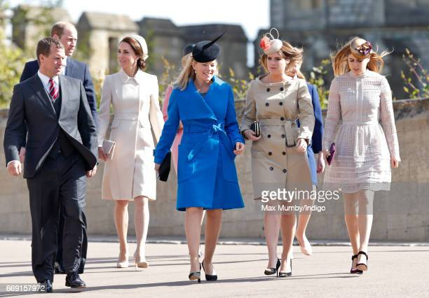Peter Phillips Prince William Duke of Cambridge Catherine Duchess of Cambridge Autumn Phillips Princess Eugenie and Princess Beatrice attend the...