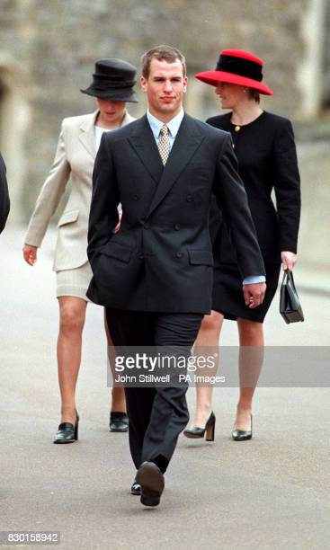 Peter Phillips, son of the Princess Royal, leaving St George's chapel in Windsor, following the Easter Sunday service.