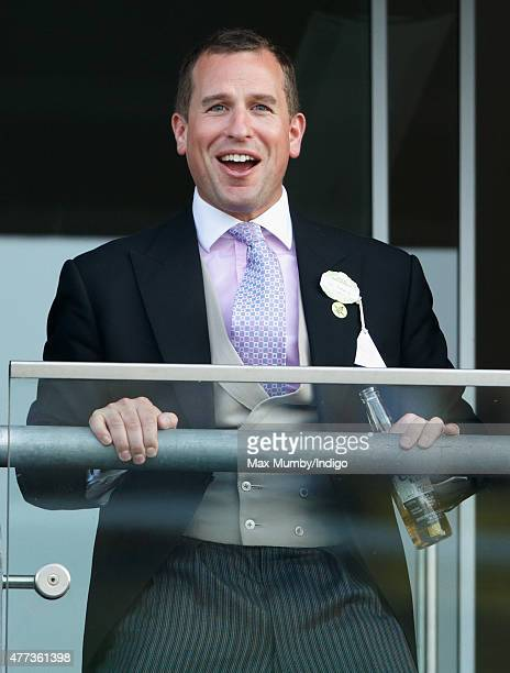 Peter Phillips watches the racing as he attends day 1 of Royal Ascot at Ascot Racecourse on June 16 2015 in Ascot England