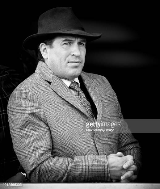 Peter Phillips watches the racing as he attends day 4 'Gold Cup Day' of the Cheltenham Festival 2020 at Cheltenham Racecourse on March 13 2020 in...