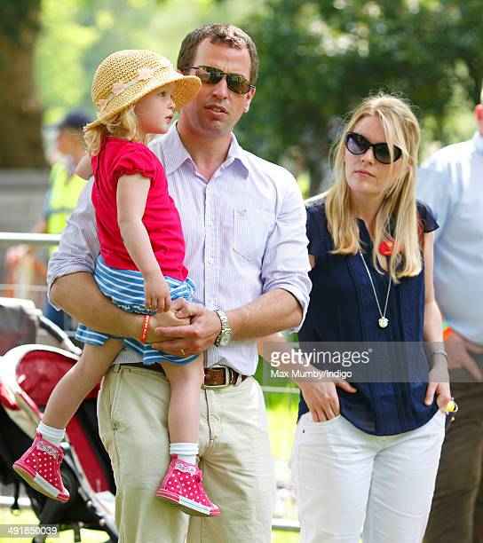 Peter Phillips wife Autumn Phillips and daughter Savannah Phillips watch the International Carriage Driving Grand Prix event during day 4 of the...
