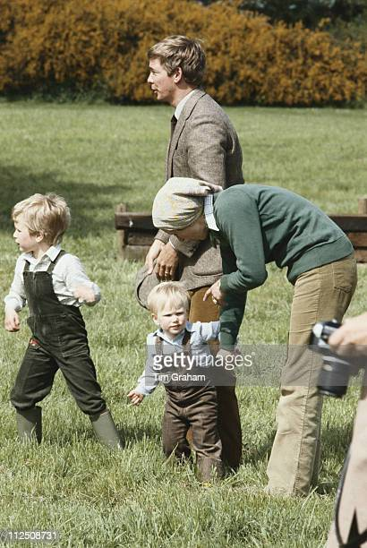 Peter Phillips, Zara Phillips and their mother, Princess Anne, with Royal bodyguard, David Robinson, at the Royal Windsor Horse Show, held at Home...