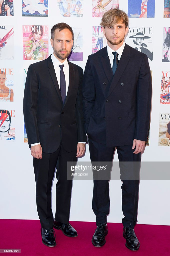 Peter Pilotto and Christopher de Vos arrive for the Gala to celebrate the Vogue 100 Festival at Kensington Gardens on May 23, 2016 in London, England.