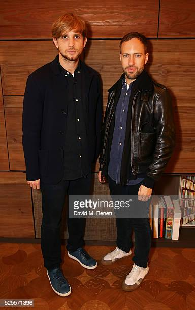 Peter Pilotto and Christopher de Vos attend the BFC Fashion Trust x Farfetch cocktail reception on April 28, 2016 in London, England.