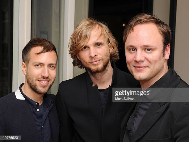 Peter Pilotto Christopher de Vos and Nicholas Kirkwood attend the British Fashion Council private dinner hosted by Jessica de Rothschild at a private...